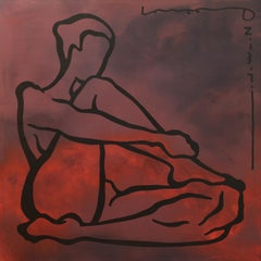 Laura, Yuriy Zaordonets, Red Figurative Abstraction, Female Nude, Woman Portrait
