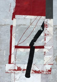 Redshelter, Antoine Puisais, Mixed-media, Abstract Geometric Collage, Graphic