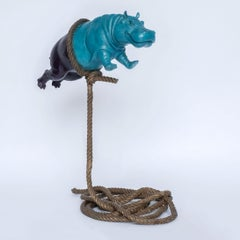 'Flying Hippo' by Gillie & Marc, bronze sculpture, patina