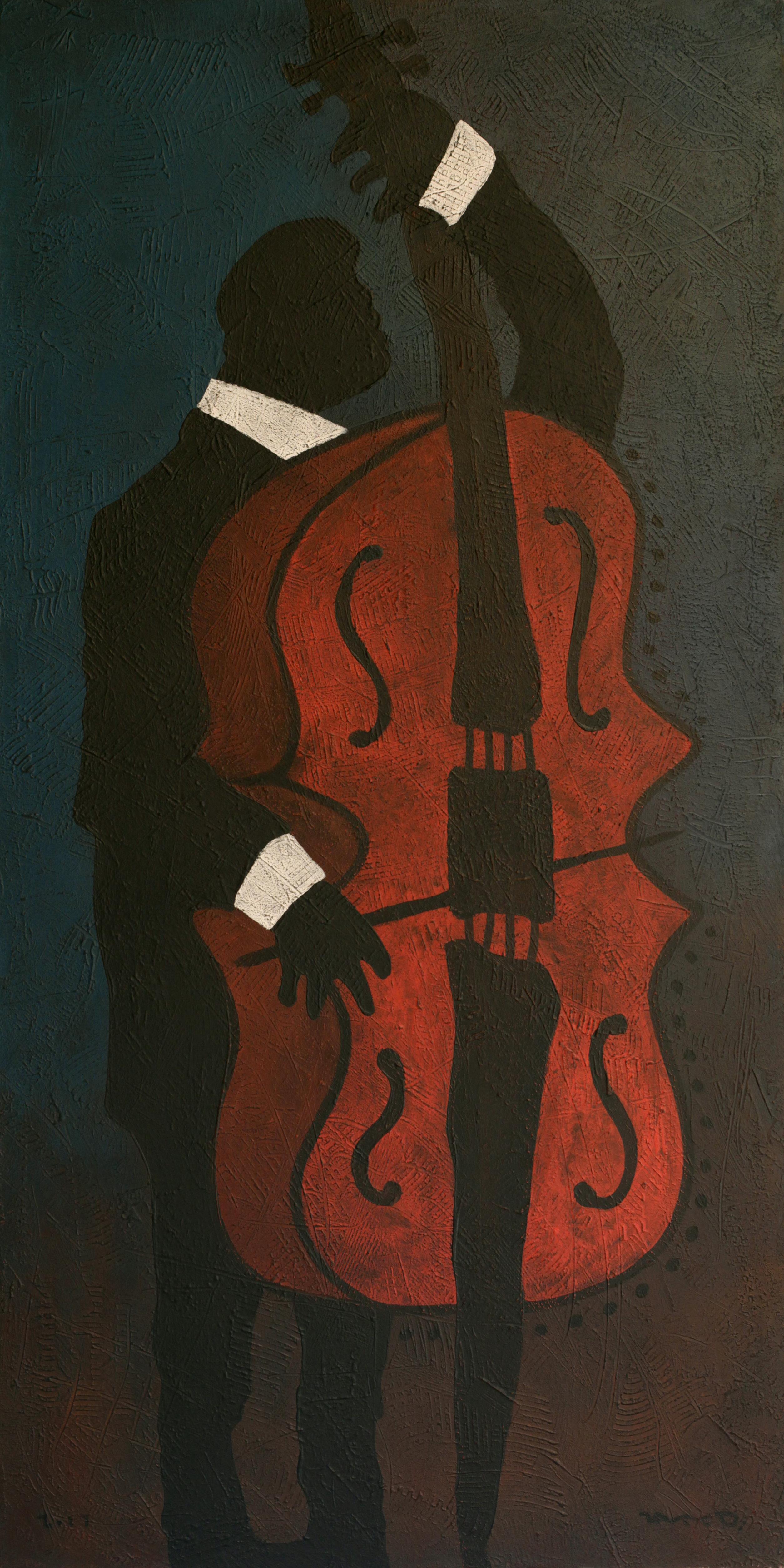 Velvet Night, Contemporary Expressionist Art Man Portrait Music Blue Red