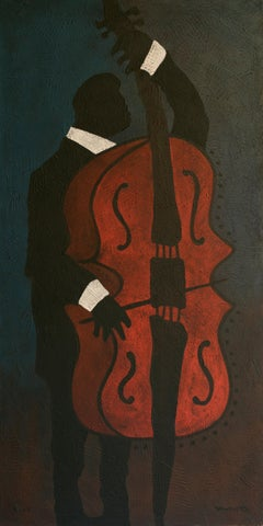 Velvet Night, Yuriy Zakordonets, Figurative Modern Portrait, Musician, Blue, Red