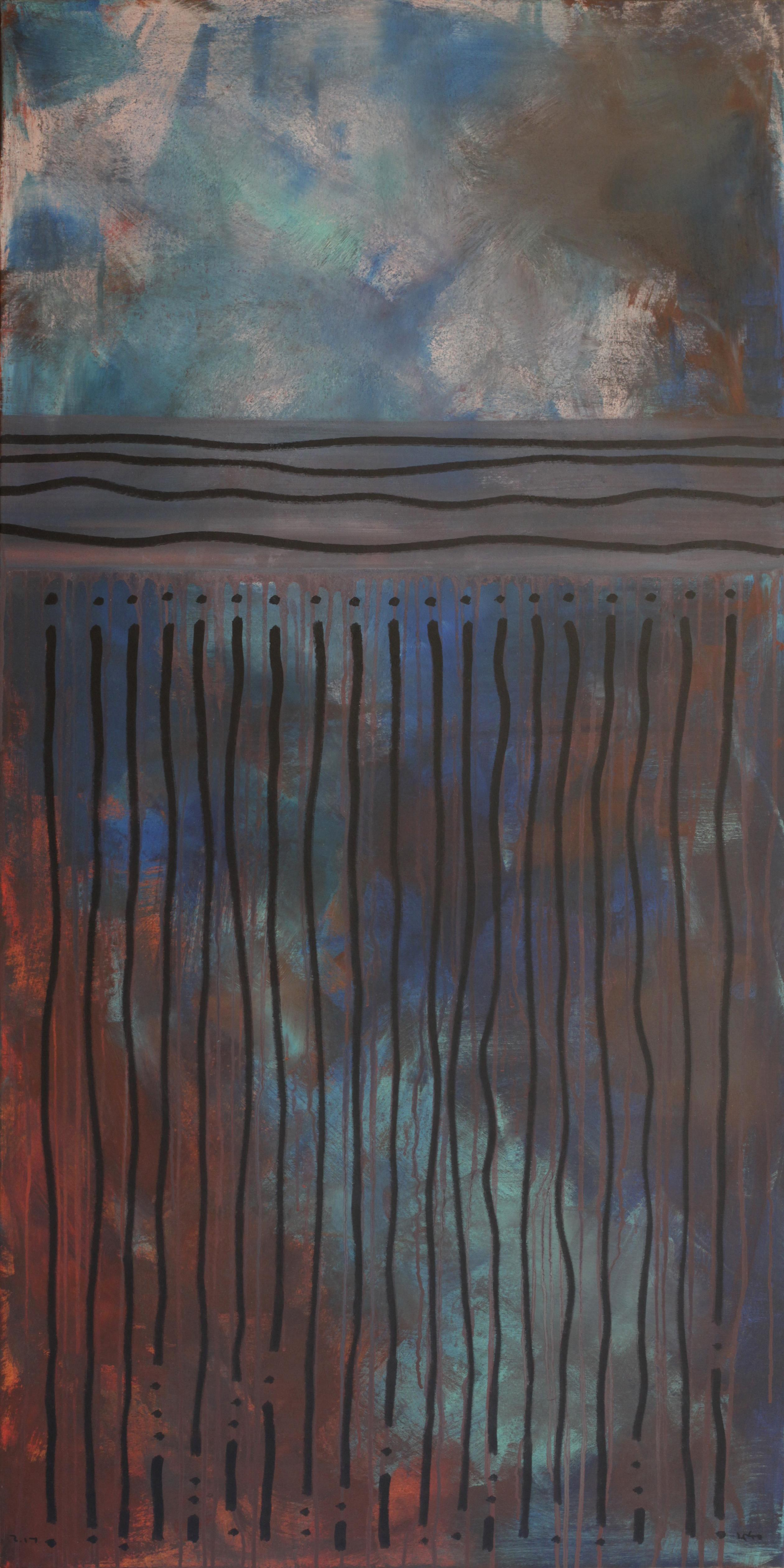 Rain. November, Contemporary Abstract Painting Landscape Blue Red Graphic Art