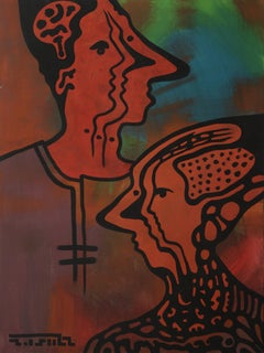 Split Personality, Contemporary Abstract Painting Art Portrait Orange Red Green