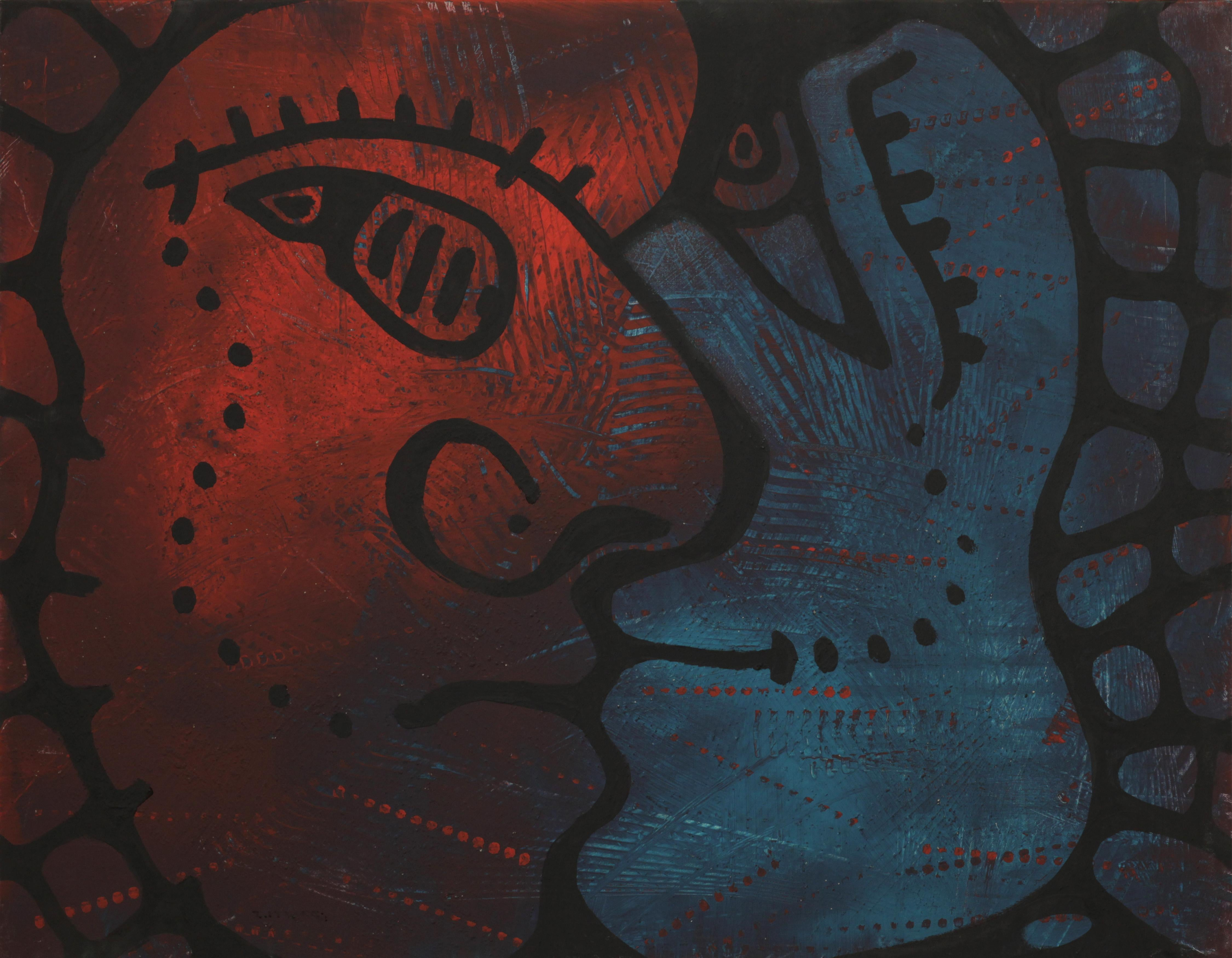 Keep Breathing, Contemporary Abstract Expressionist Painting Portrait Blue Red
