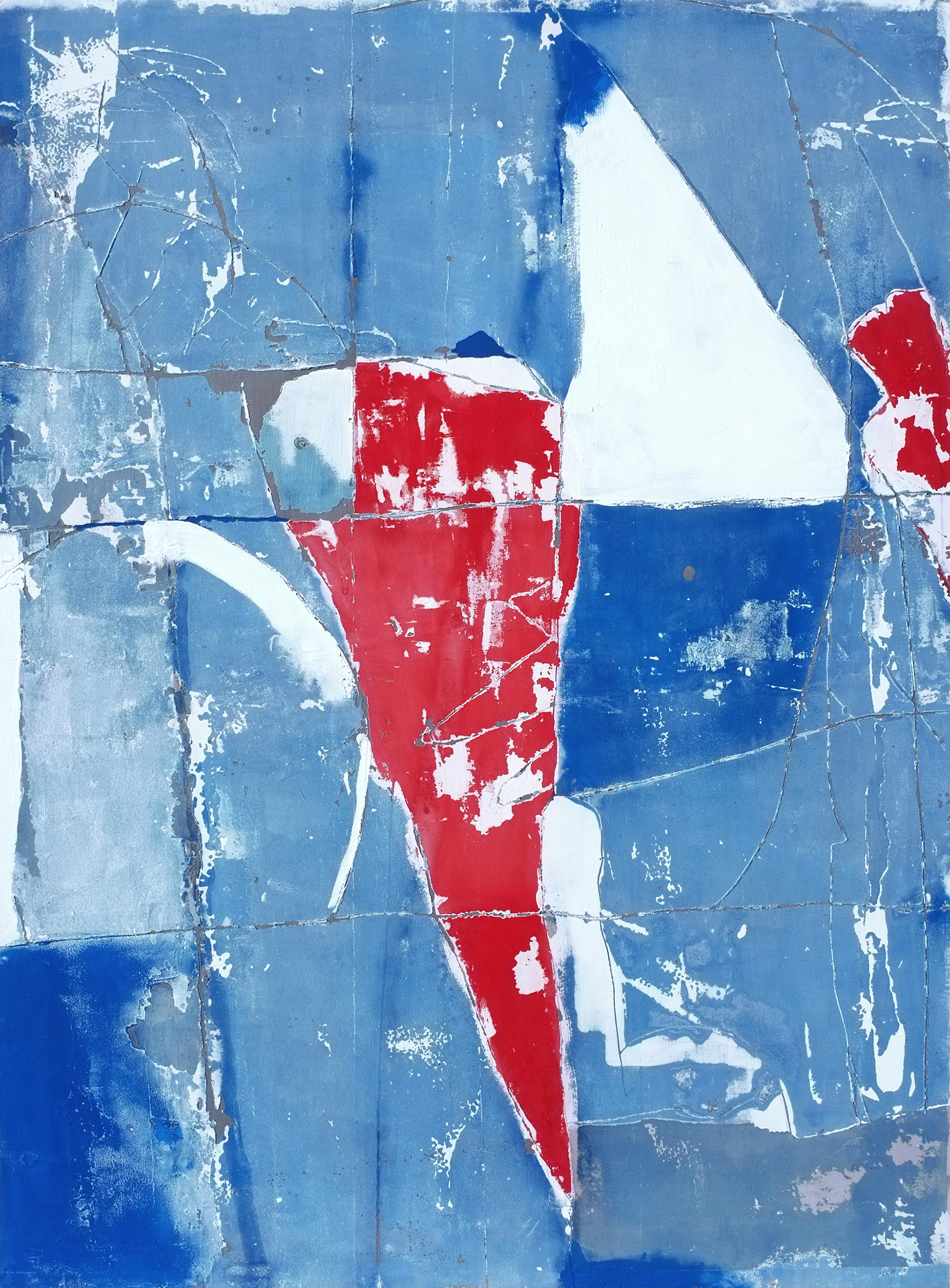 Unfolded Thoughts, Contemporary Abstract Mixed media Blue Red Collage Canvas