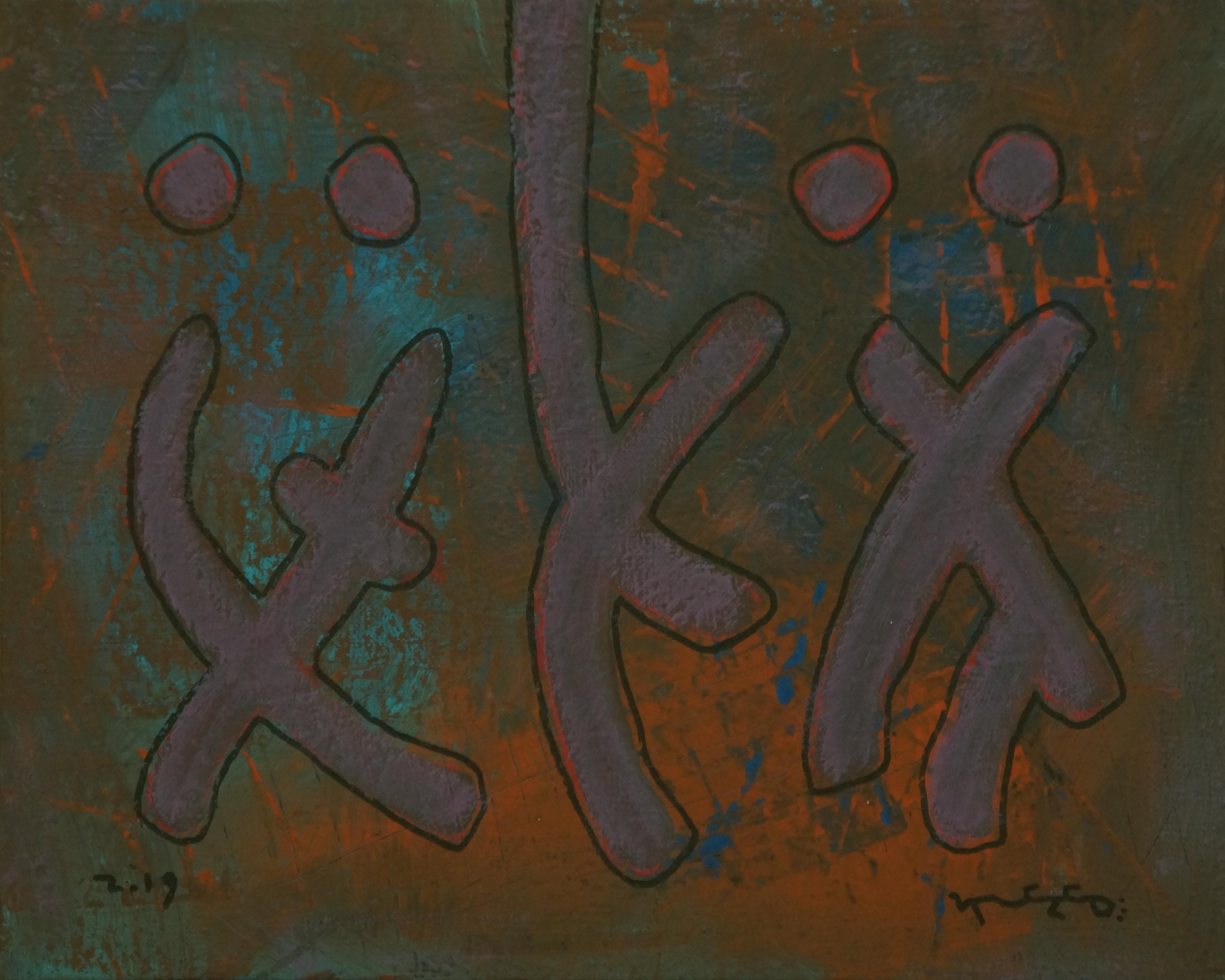 Genetics, Contemporary Abstract Art Expressionist Painting Canvas Green Orange