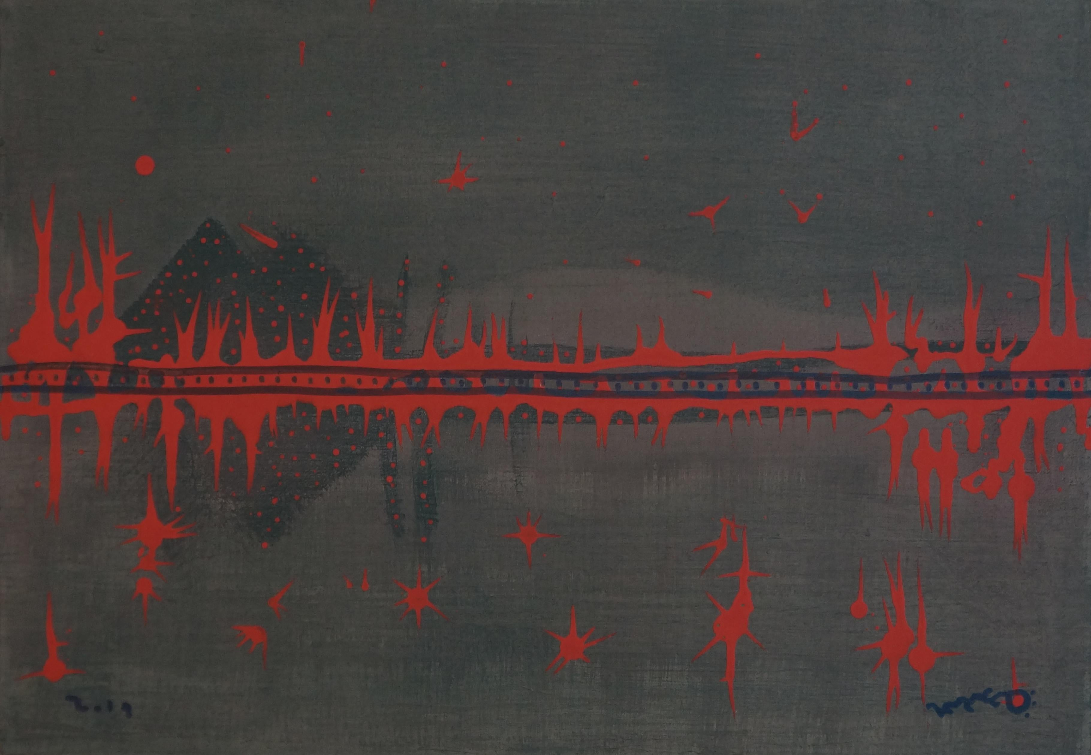 Caravan, Contemporary Abstract Painting Landscape Expressionist Canvas Red Black
