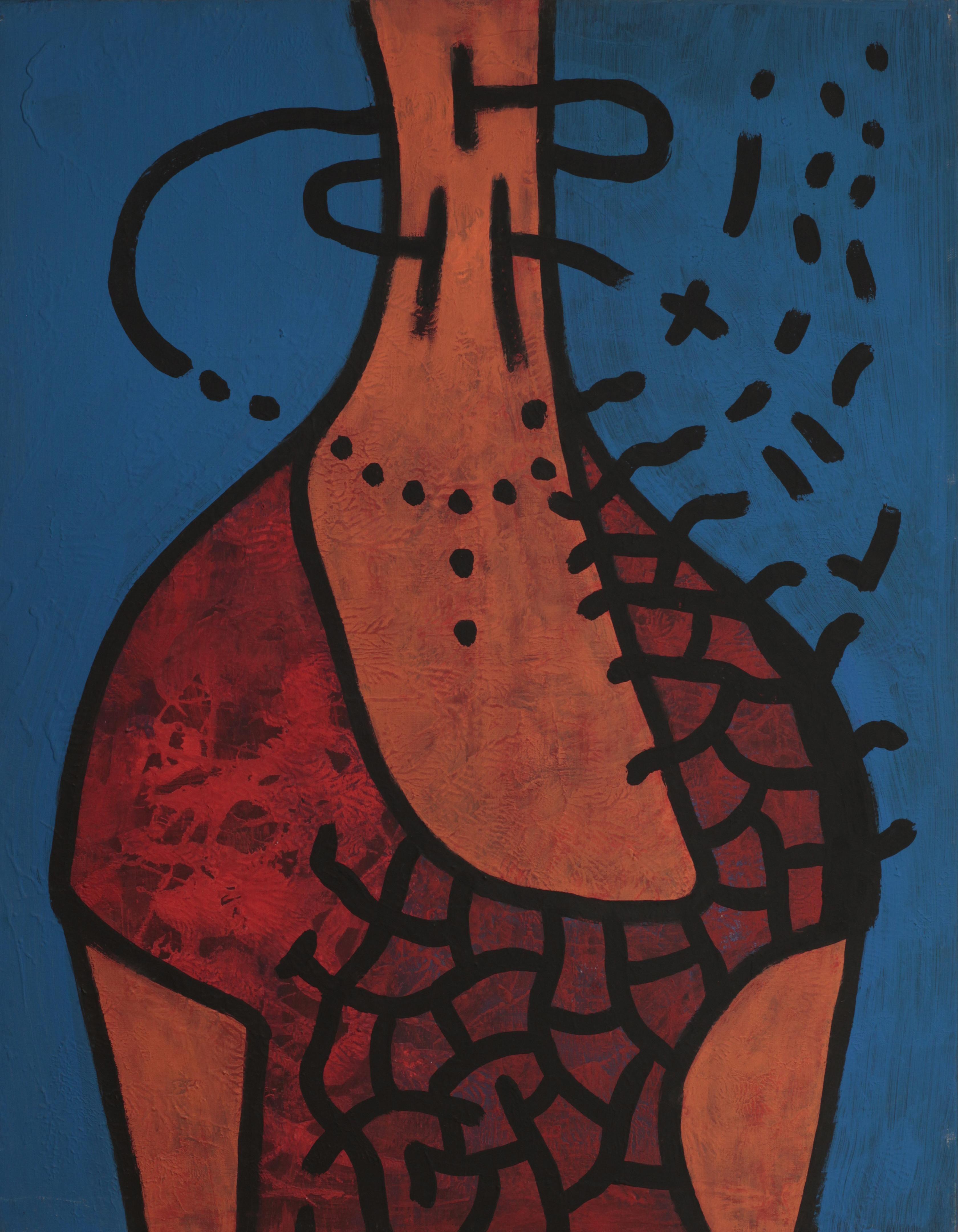 Frida, Modern Surrealist Painting Canvas Portrait Art Blue Red Woman Portrait