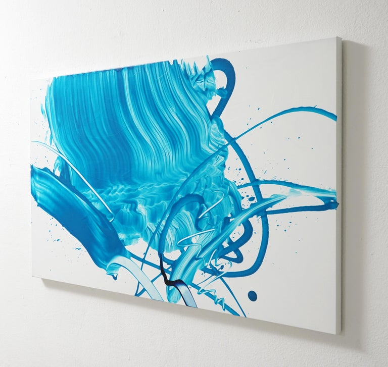 Beginning of the Stop 11-2018 is a vibrant contemporary abstract expressionist art by South Korean artist, Seungyoon Choi. It is a large oil painting on canvas with a strong blue color aesthetic and expressive brush strokes. A dynamic artwork