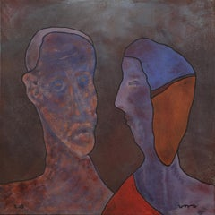 Quiet Conversation, Contemporary Abstract Expressionist Art Portrait Blue Red