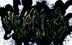 Beginning of the stop 42, Abstract Expressionist Oil Painting Canvas Black Gold