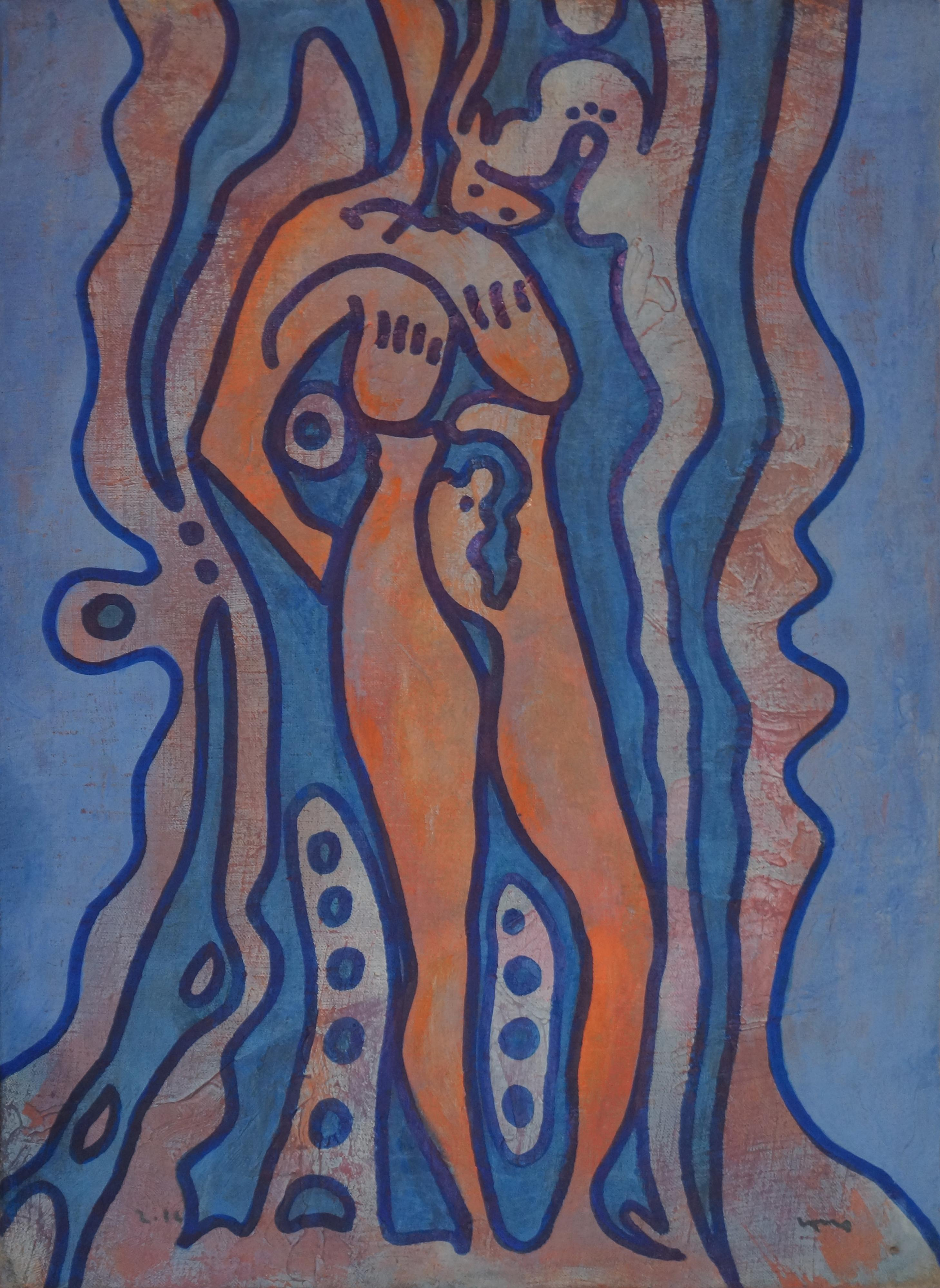 Body, Contemporary Abstract Art Painting Expressionist Blue Orange Female Woman