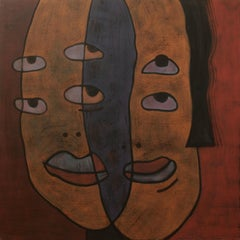 Point of View, Modern Abstract Art Portrait Canvas Orange Blue Face Geometric