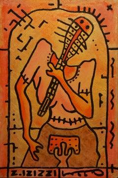 Karaoke, Modern Abstract Art Acrylic Painting Canvas Yellow Black Woman Portrait