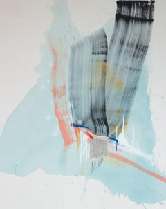 Hesitancy Does No Good, Rebecca Stern, Abstract Expressionism, Blue Mixed-media