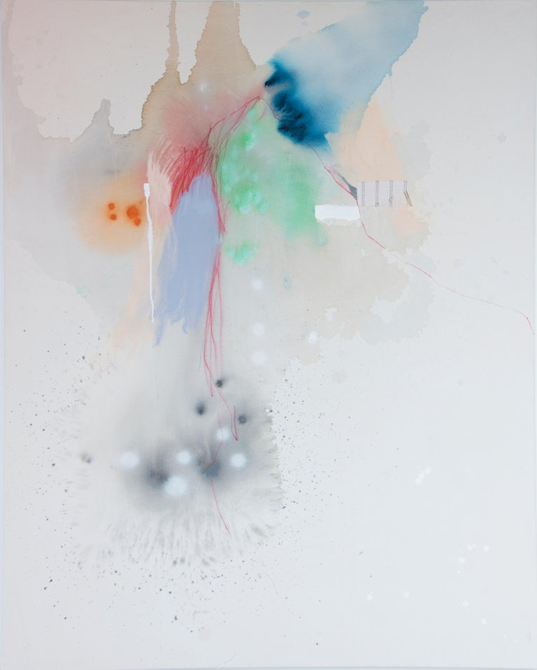 Safe Surrenders, Rebecca Stern, Abstract, Mixed media, Pastel Palette Minimalist - Painting by Rebecca Stern
