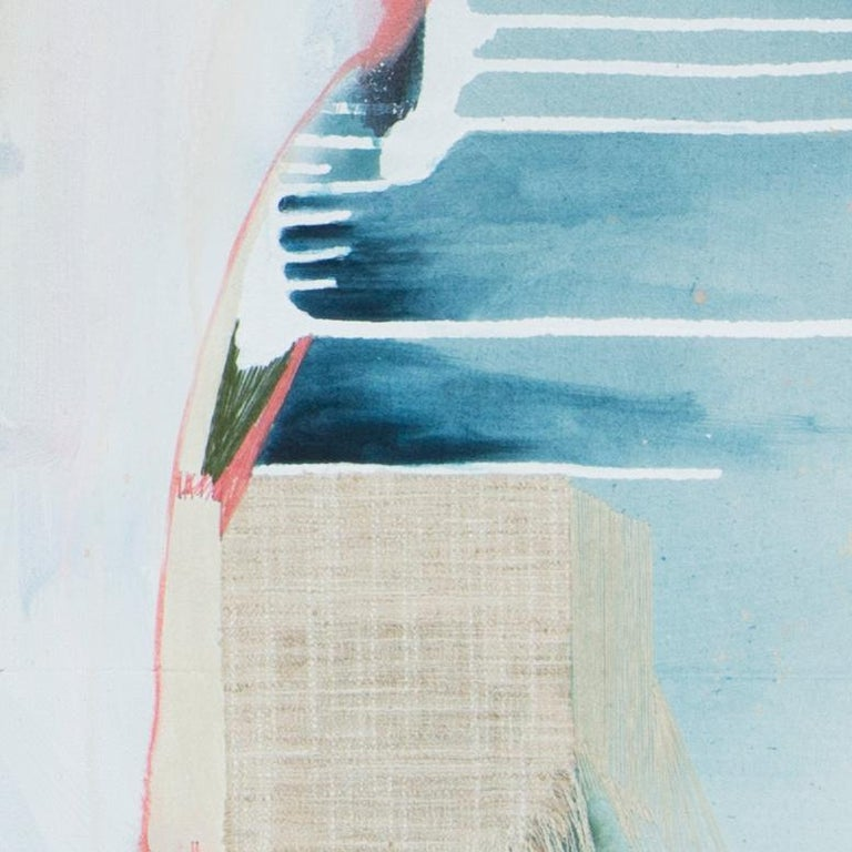 When It Matters Most I, Rebecca Stern, Abstract, Mixed-media, Collage, Pattern - Blue Abstract Painting by Rebecca Stern