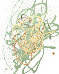 Cross-section of the Luxury 15, Contemporary Abstract Oil Painting Green Gold