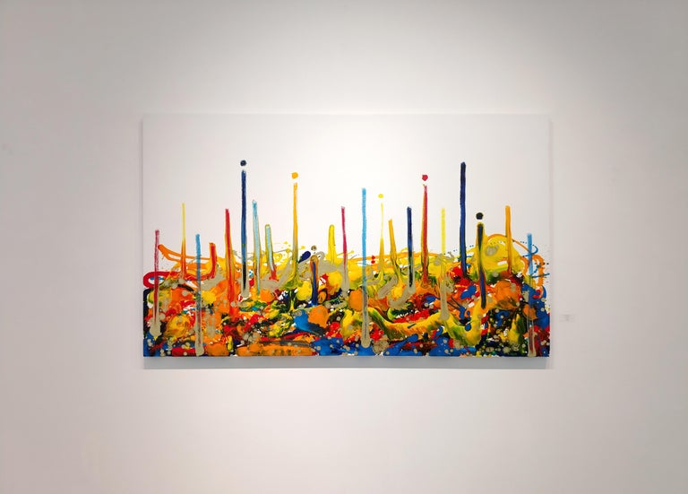 Cross-section of the moment 1, Contemporary Abstract Oil Painting Canvas Yellow For Sale 1