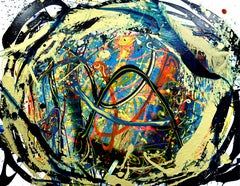 Our Boundaries, Contemporary Abstract Expressionist Art Oil Painting Gold Blue