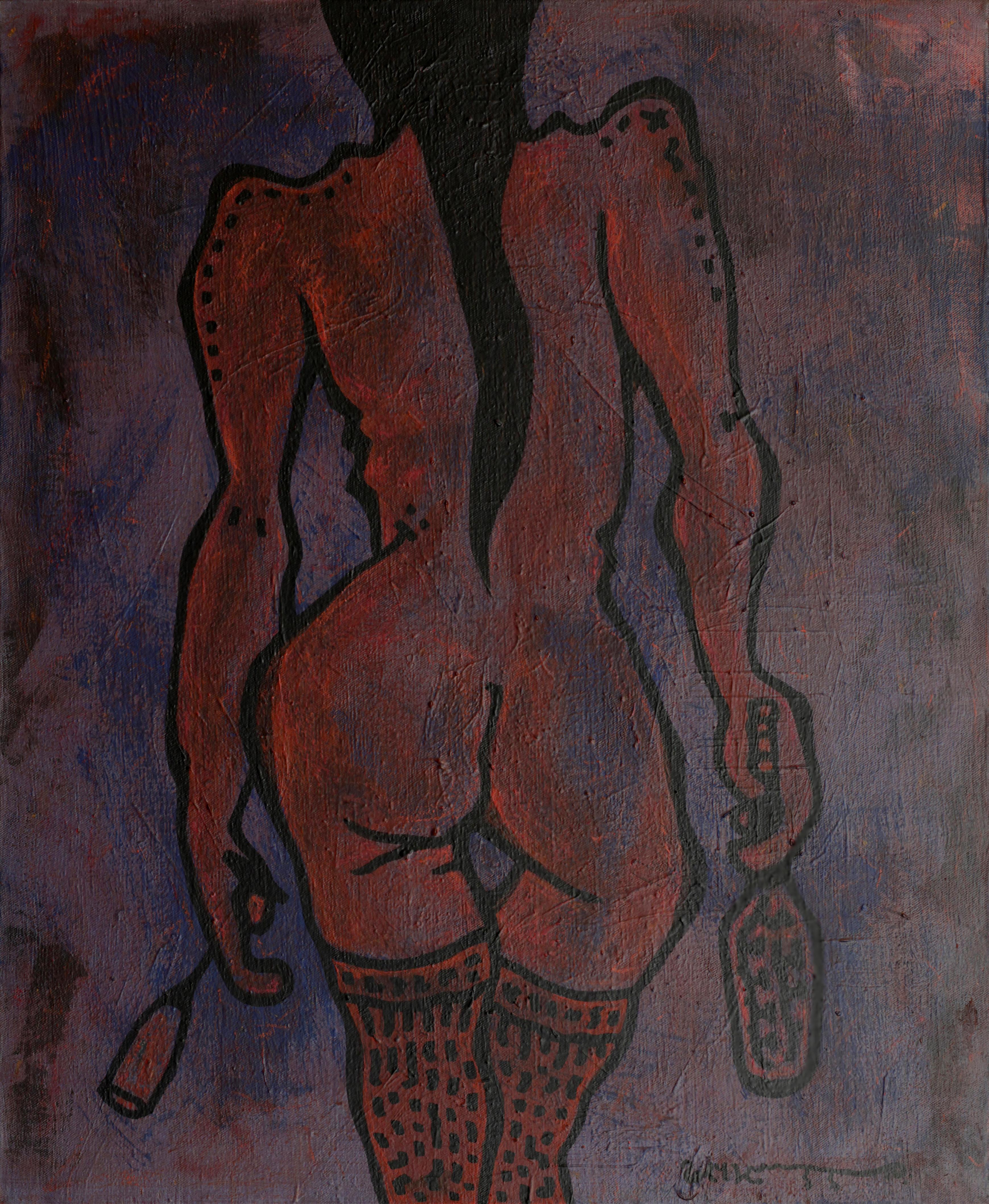 Summer, Woman Nude Erotic Art Naked Female Expressionist Painting Purple Orange