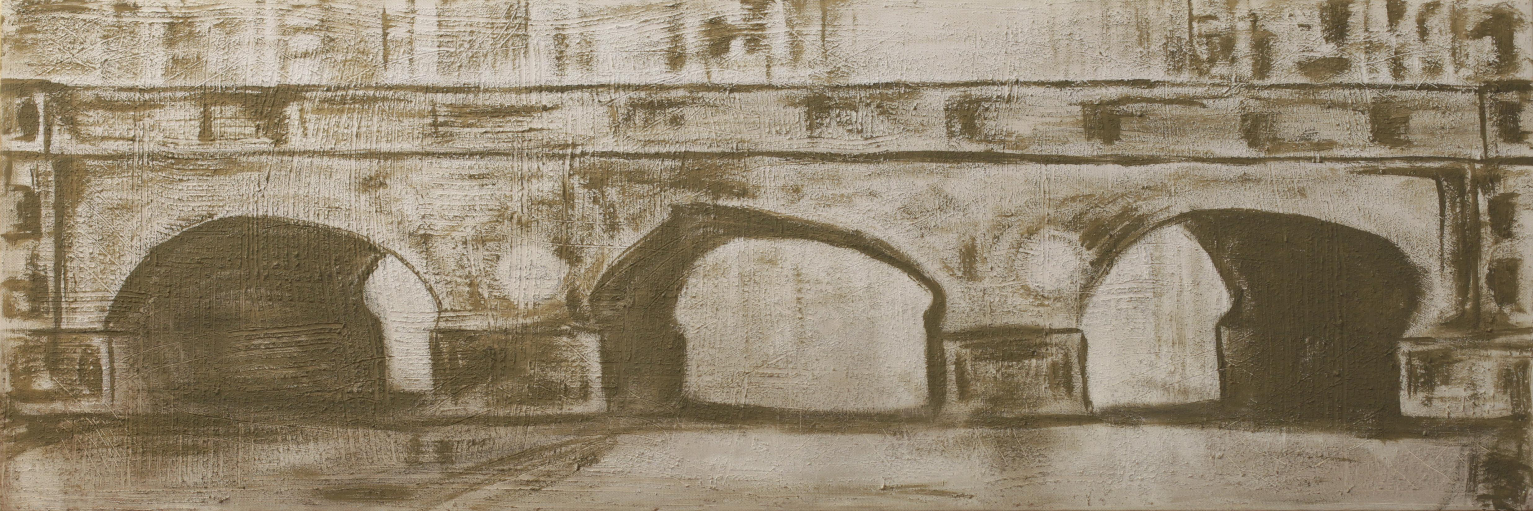 Bridge, Contemporary Abstract Art Acrylic Painting Brown Minimalist Architecture