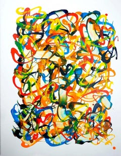 Beginning of the stop 111, S. Choi, Abstract, Expressionist, Yellow Oil Painting
