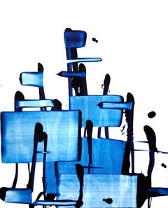 Beginning of the stop 70, Abstract Art Oil Painting Canvas Contemporary Blue