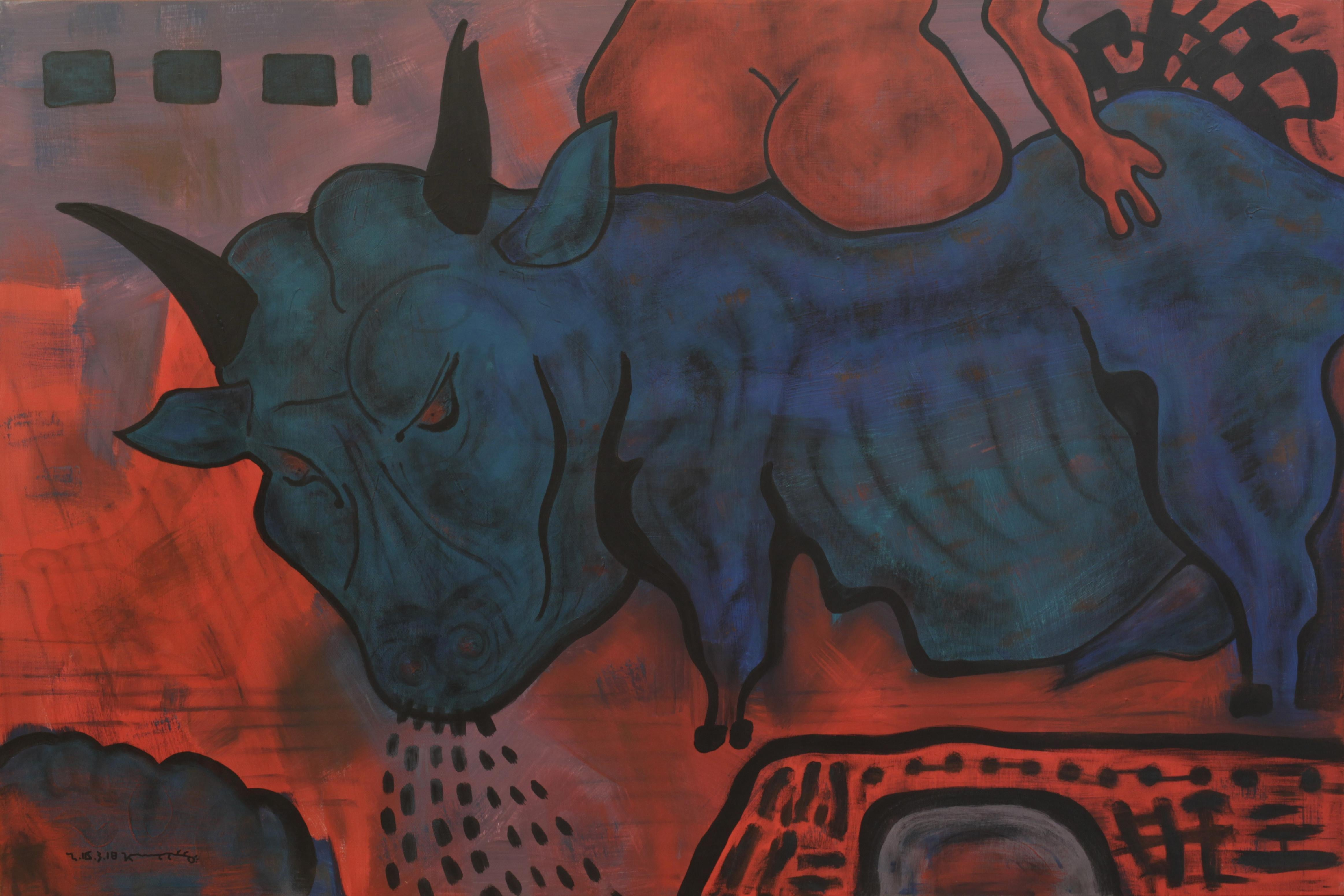 Abduction, Contemporary Expressionist Art Animal Painting Canvas Blue Red Orange