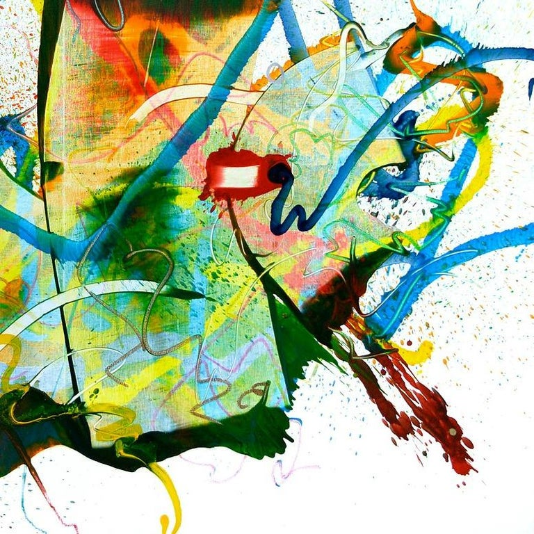 Cross-section of the moment 10-2017 by Seungyoon Choi is a large scale abstract oil painting. The amazing color palette and details make the artwork a statement piece which will get attention in any space. Sprayed paint and long brush movements on