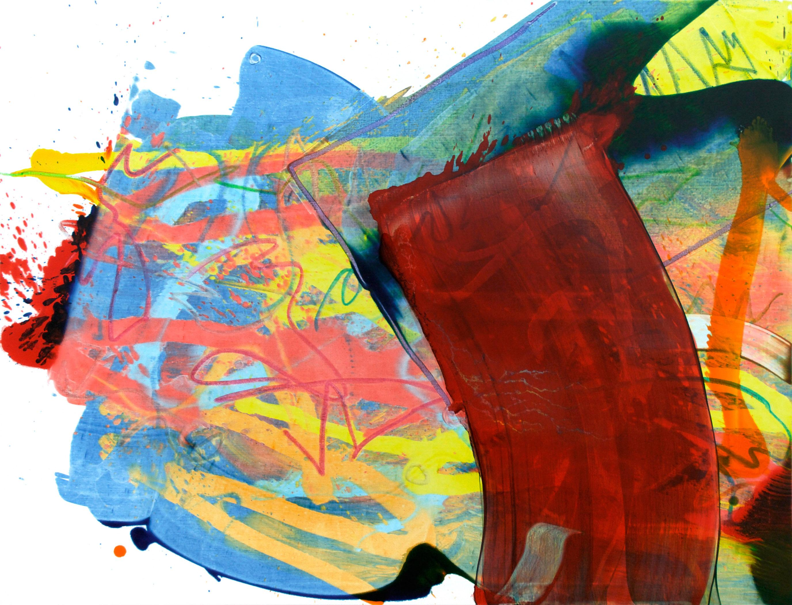 Cross-section of the moment 2, Red Abstract Expressionist Oil Painting Canvas