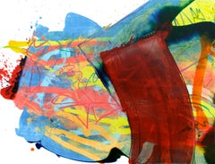 Cross-section of the moment 2, S. Choi, Red Abstract Expressionist Oil Painting