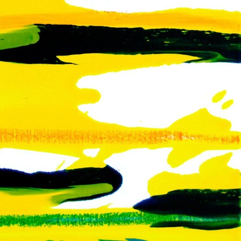 Cross-section of the moment 23-2017 by Seungyoon Choi - abstract expressionist oil painting that will bring a sunny atmosphere in any space. The vibrant color palette, free movement, and intensity of gestural abstraction make this artwork a