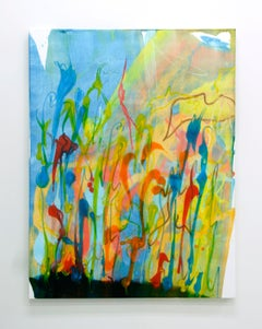 Cross-section of the moment 3, Abstract Oil Painting Blue Green Contemporary