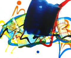 Cross-section of the moment 40, Contemporary Abstract Oil Painting Yellow Blue