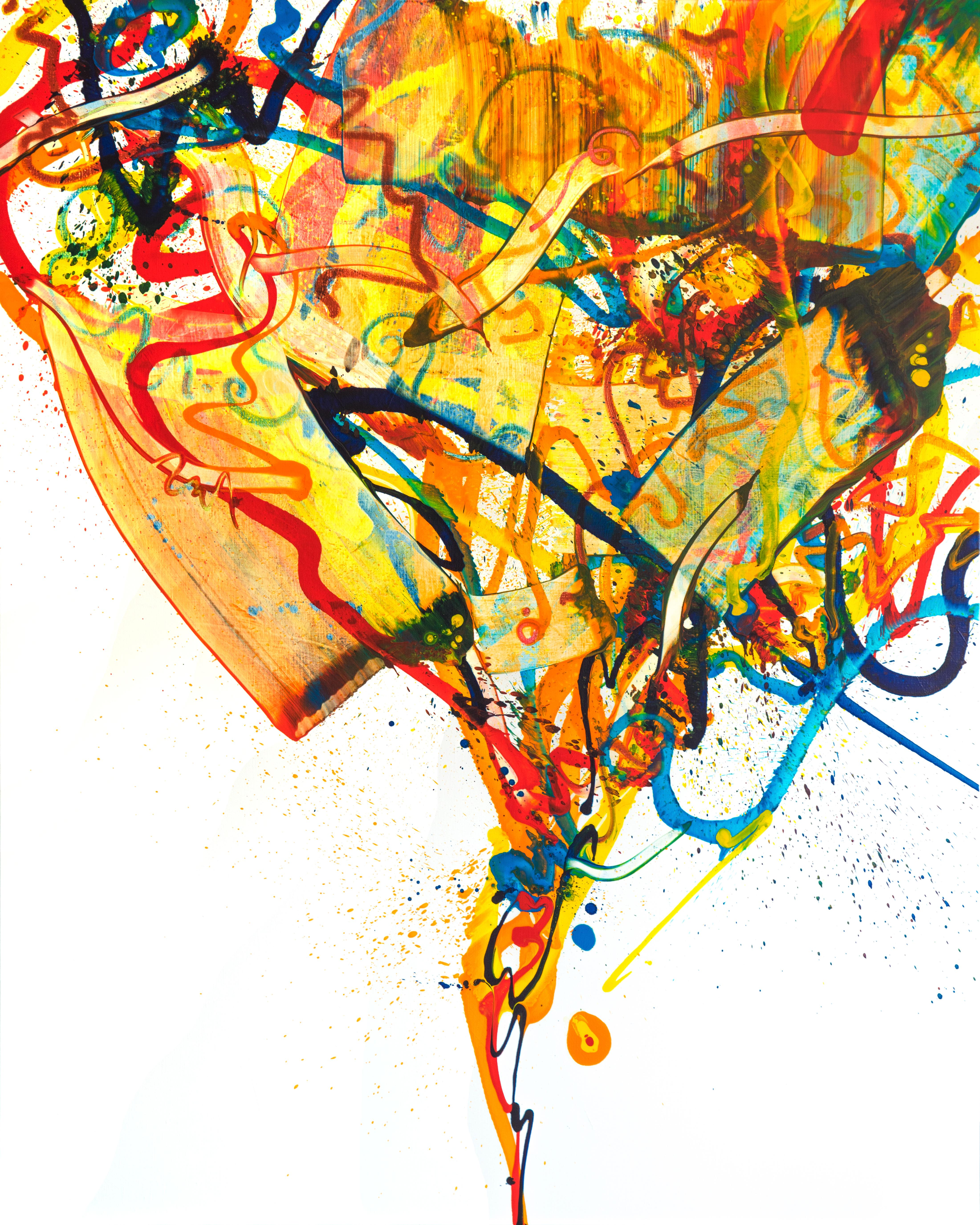 Cross-section of the moment 43, Abstract Art Oil Painting Expressionist Yellow