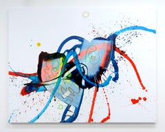 Cross-section of the Moment 7, Abstract Oil Painting Canvas Blue Expressionist