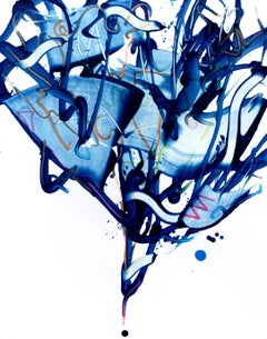 Cross-section of the moment 9, S. Choi, Gestural Abstract Expressionist, Blue