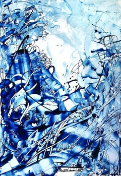 Boy in Woods, Contemporary Abstract Art Oil Painting Canvas Blue Expressionist
