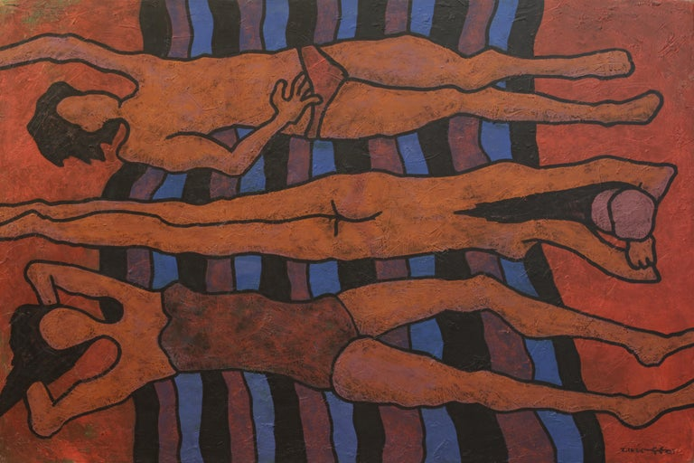 Yuriy Zakordonets Nude Painting - Midday, Expressionist Art Figurative Painting Canvas Portrait Nude Orange Blue