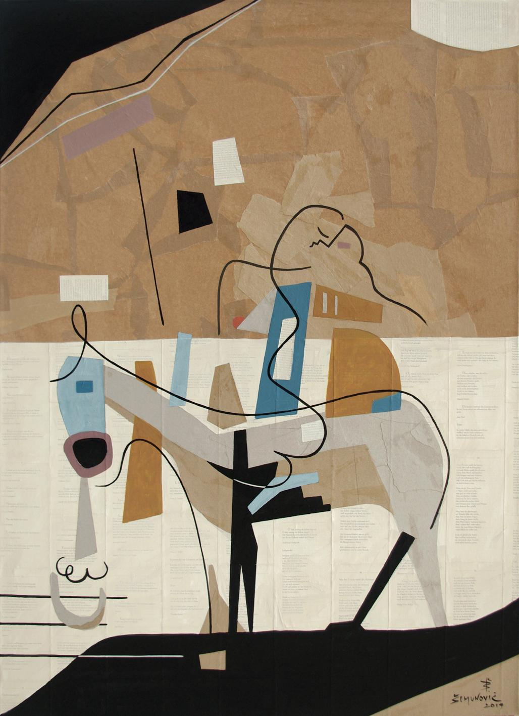 Farewell, Modern Abstract Art Geometric Mixed Media Collage Pattern Design Brown