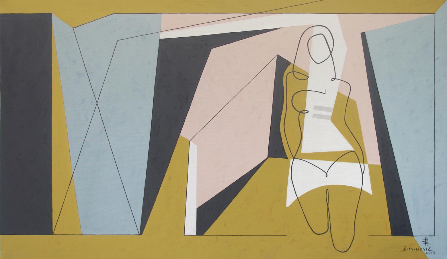 Runway, Modern Abstract Wall Art Geometric Painting Canvas Pattern Yellow Blue