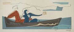 Serenity, Bernard Simunovic, Abstract Geometric, Figurative Painting, Seascape