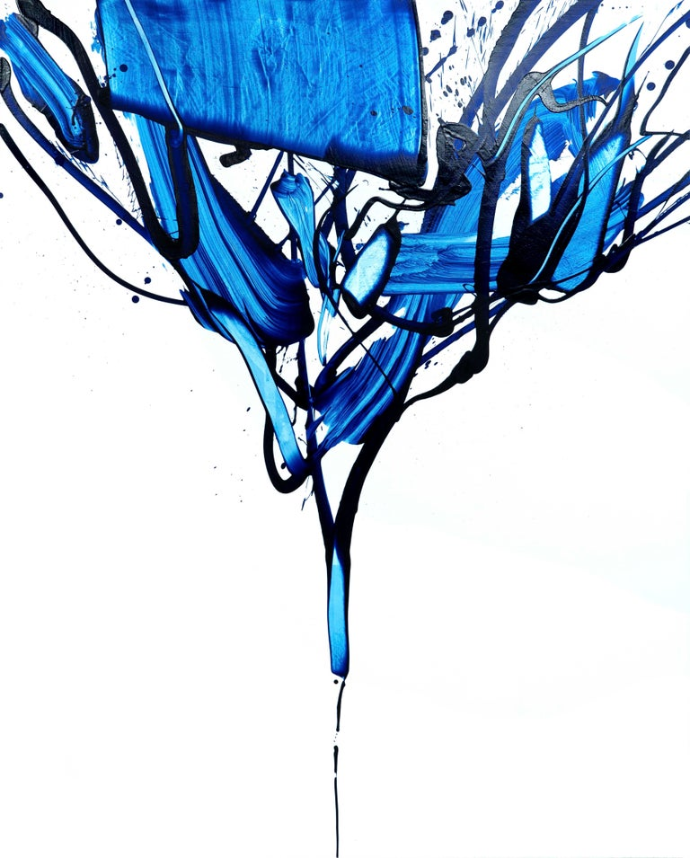Seungyoon Choi Abstract Painting - Beginning of the stop 2, S. Choi, Blue Abstract Expressionist, Oil Painting