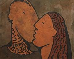 Connection, Yuriy Zaordonets, Acrylic Abstract Painting, Figurative, Portrait
