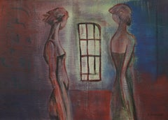 Win, Modern Expressionist Art Figurative Painting Canvas Woman Portrait Blue Red