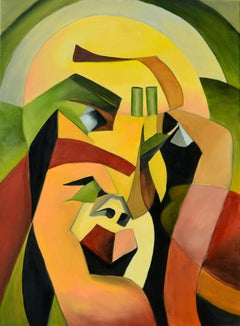 The Thinker, Rolando Duartes, Abstract Geometric Portrait, Figurative, Cubism