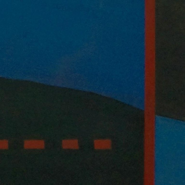 Vertical Horizon, Contemporary Minimalist Abstract Painting Landscape Blue Black For Sale 2