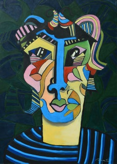 Adolescence, Rolando Duartes, Abstract Portrait, Cubism, Geometric, Bold Colors