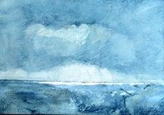 Nordic Light, Rolando Duartes, Abstract Oil Painting, Minimalist Blue, Landscape